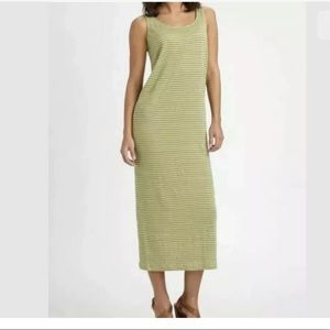 Eileen Fisher Sz M Yellow Gray Striped Maxi Dress